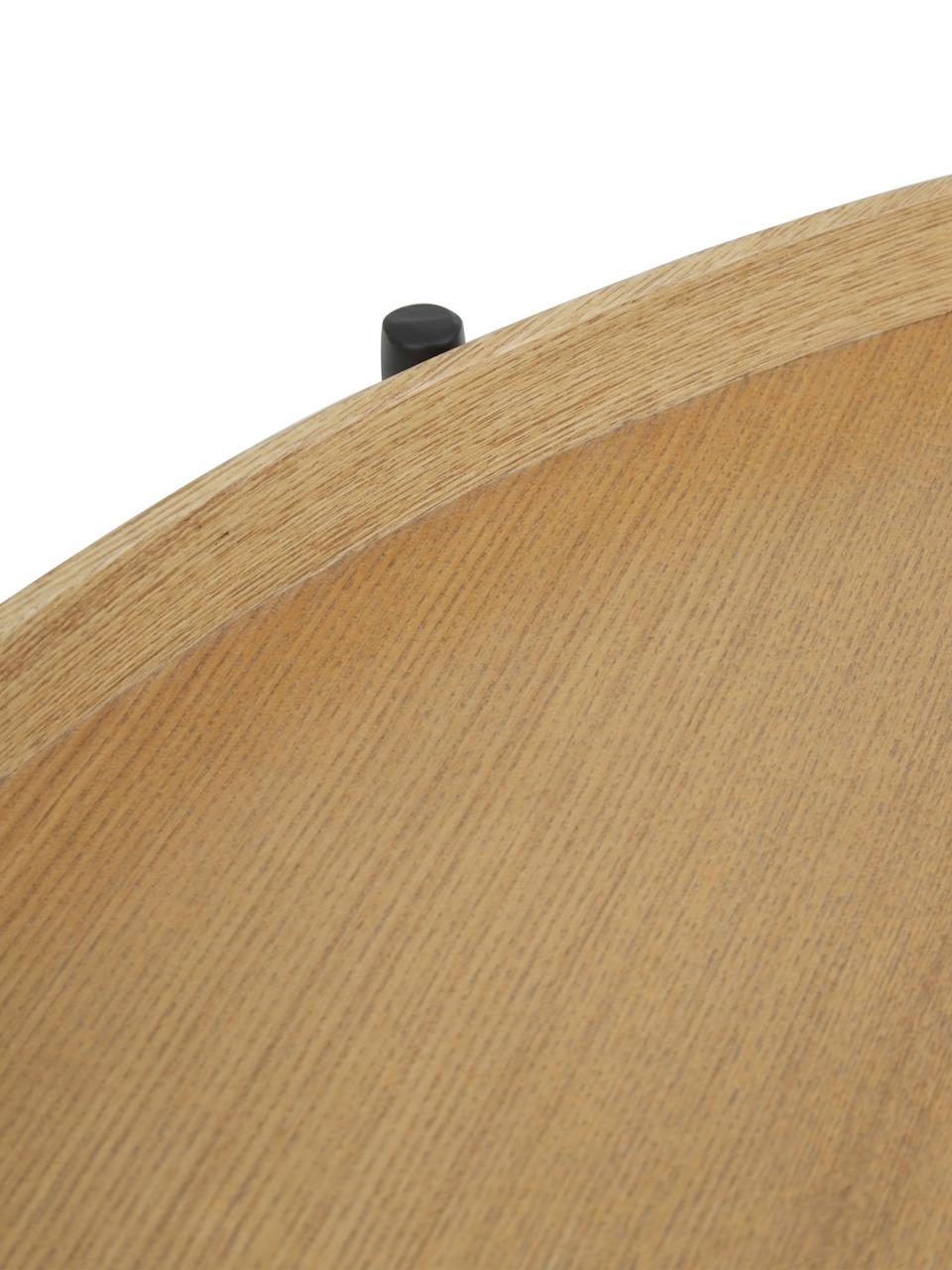 Stolik kawowy z półką Renee, Blat: płyta pilśniowa średniej , Stelaż: metal malowany proszkowo, Blaty: drewno dębowe Stelaż: czarny, matowy, Ø 69 x W 39 cm