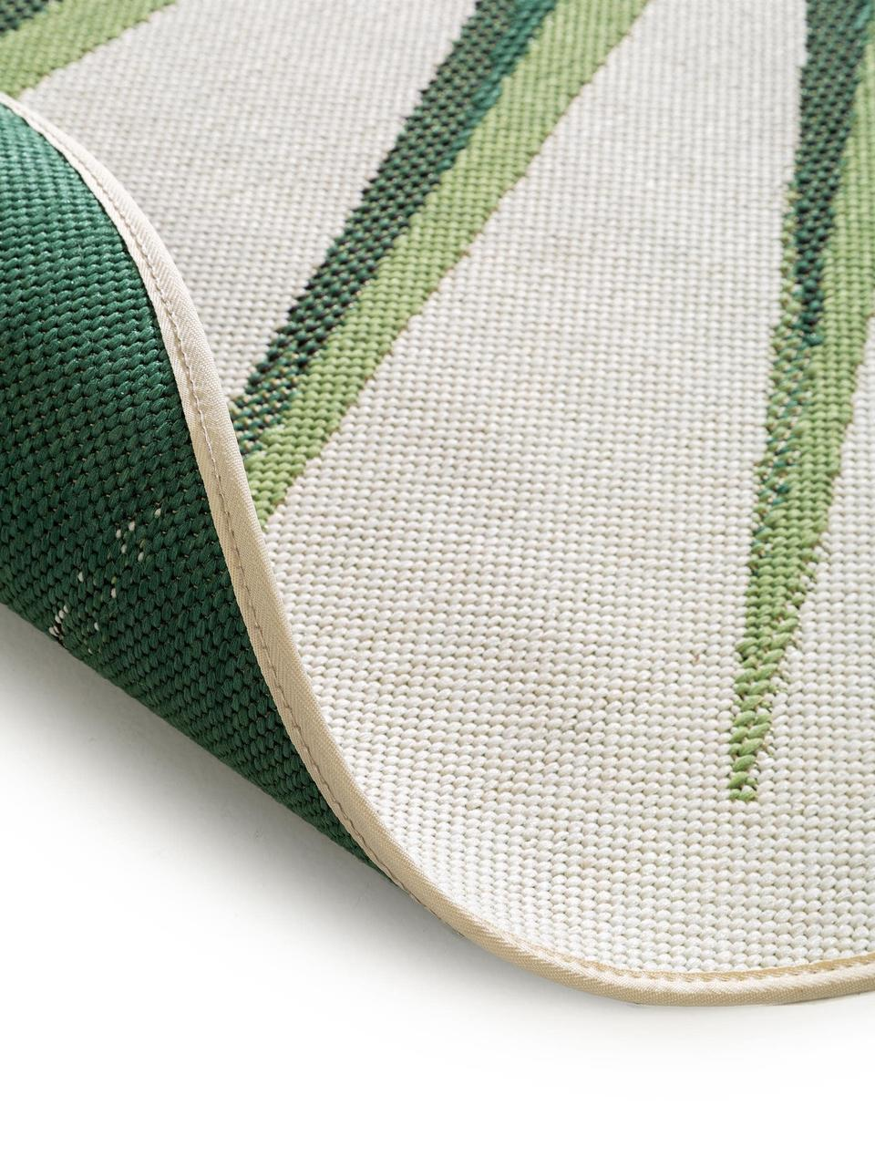 Runder In & Outdoor-Teppich Capri mit Blattmotiv, 100% Polypropylen, Grün, Beige, Ø 160 cm (Größe L)
