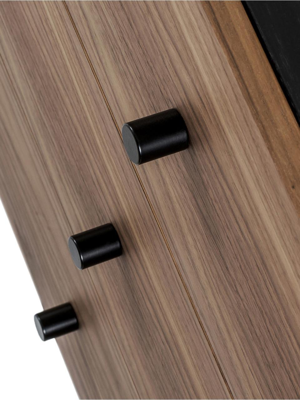 Sideboard Youth mit Türen und Eichenholzfurnier, Korpus: Mitteldichte Holzfaserpla, Füße: Metall, pulverbeschichtet, Griffe: Metall, Walnussholz, 180 x 70 cm