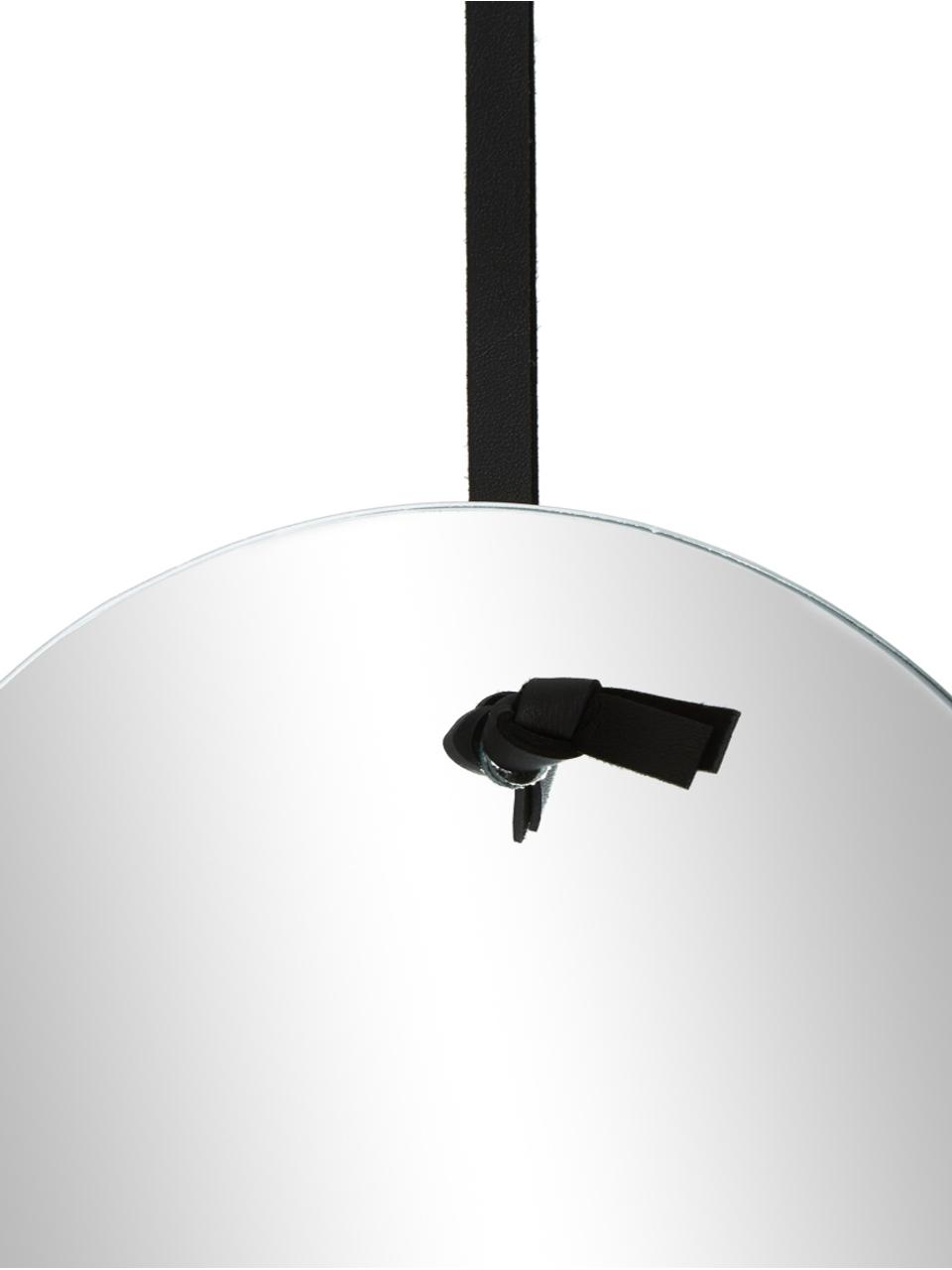 Ovale wandspiegel Terry met zwarte ophanging, Spiegelglas, zwart, 24 x 38 cm