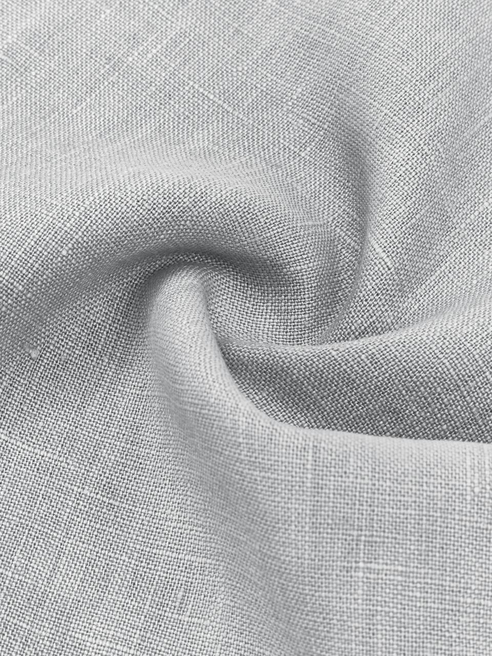 Leinen-Kissenhülle Luana in Hellgrau mit Fransen, 100% Leinen, Hellgrau, 40 x 40 cm