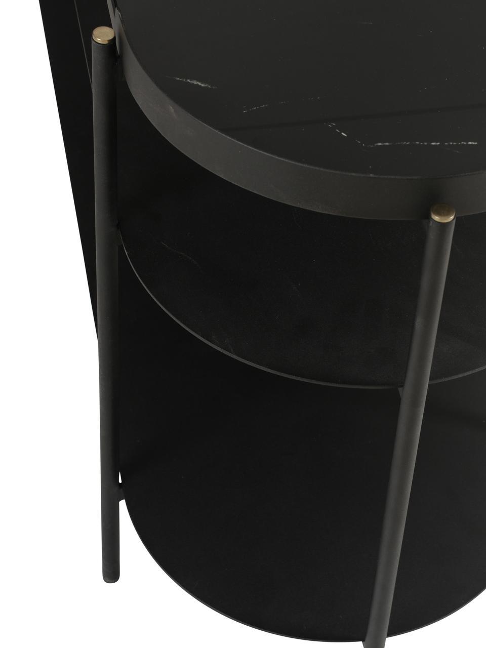Konsola z blatem z imitacji marmuru Complice, Czarny, marmurowy, S 140 x G 38 cm