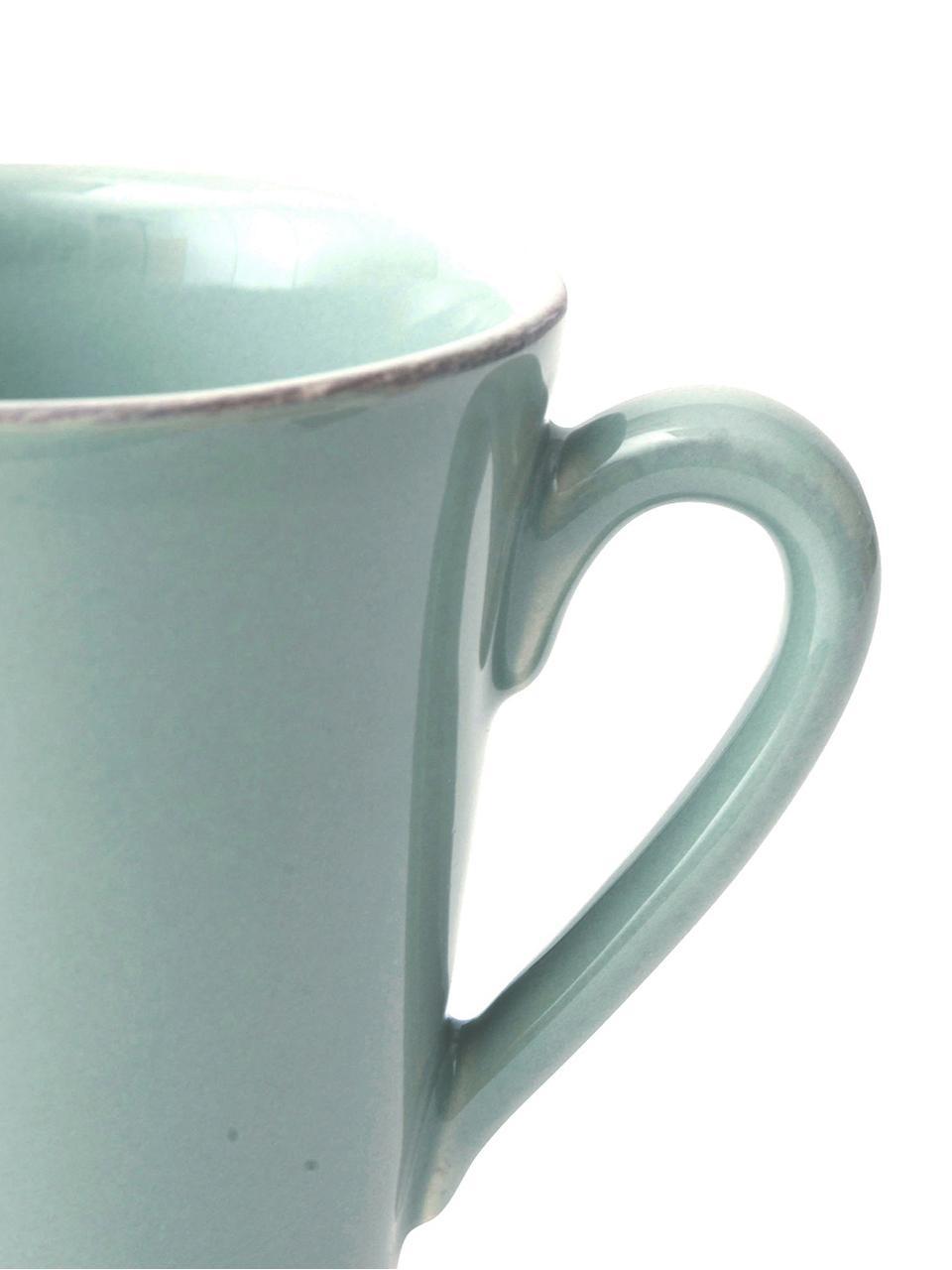 Tassen Constance in Mint im Landhaus Style, 2 Stück, Steingut, Mint, Ø 9 x H 10 cm