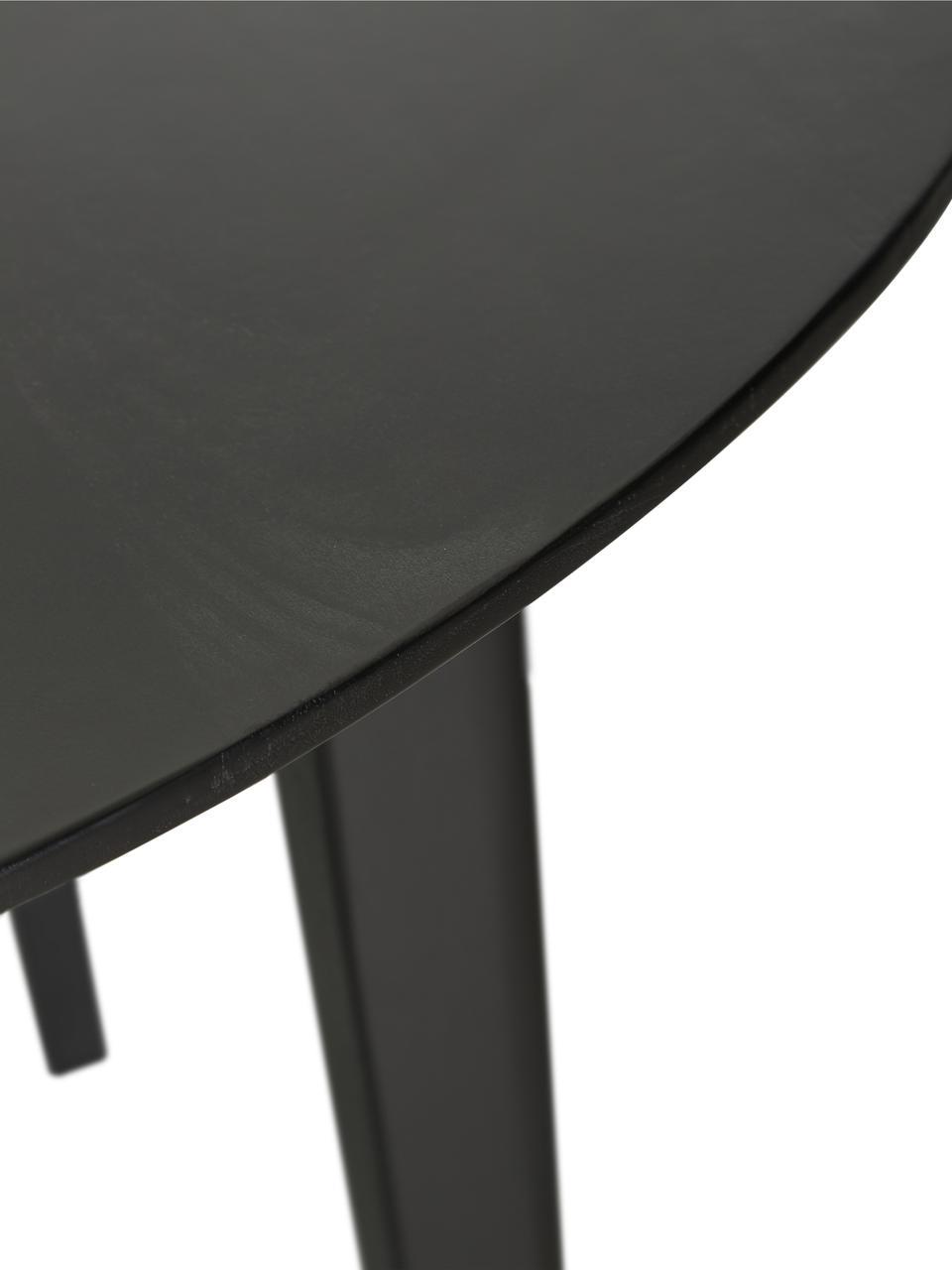 Table à manger ronde en bois massif Archie, Bois de manguier, noir laqué