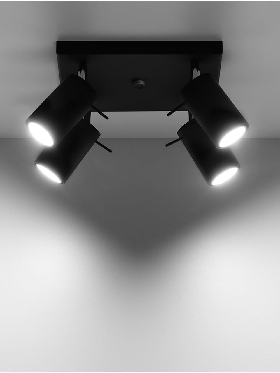 Kleiner Deckenstrahler Etna in Schwarz, Baldachin: Stahl, lackiert, Schwarz, 25 x 15 cm