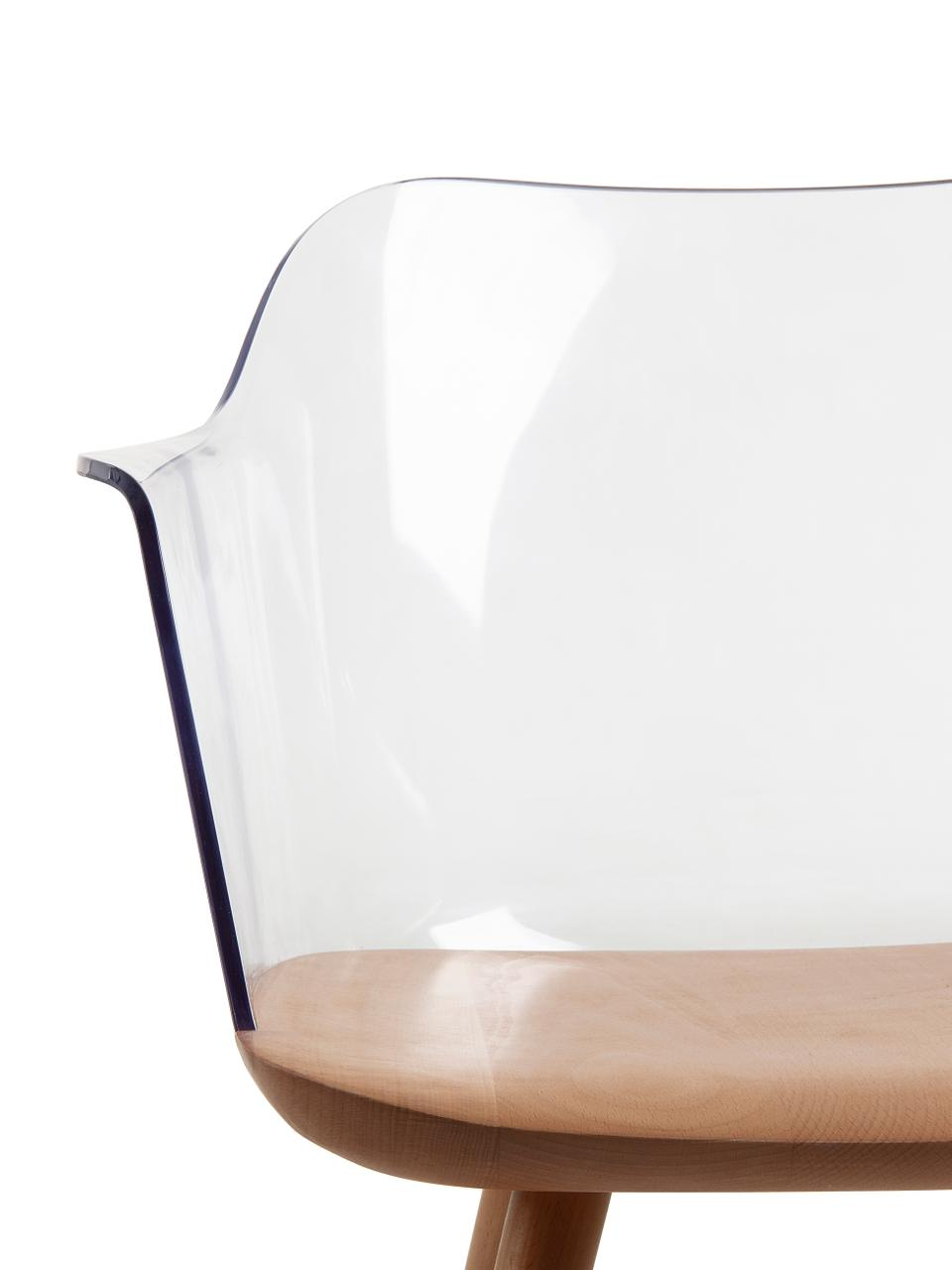 Chaise à accoudoirs transparente Bjorg, 2pièces, Transparent, hêtre
