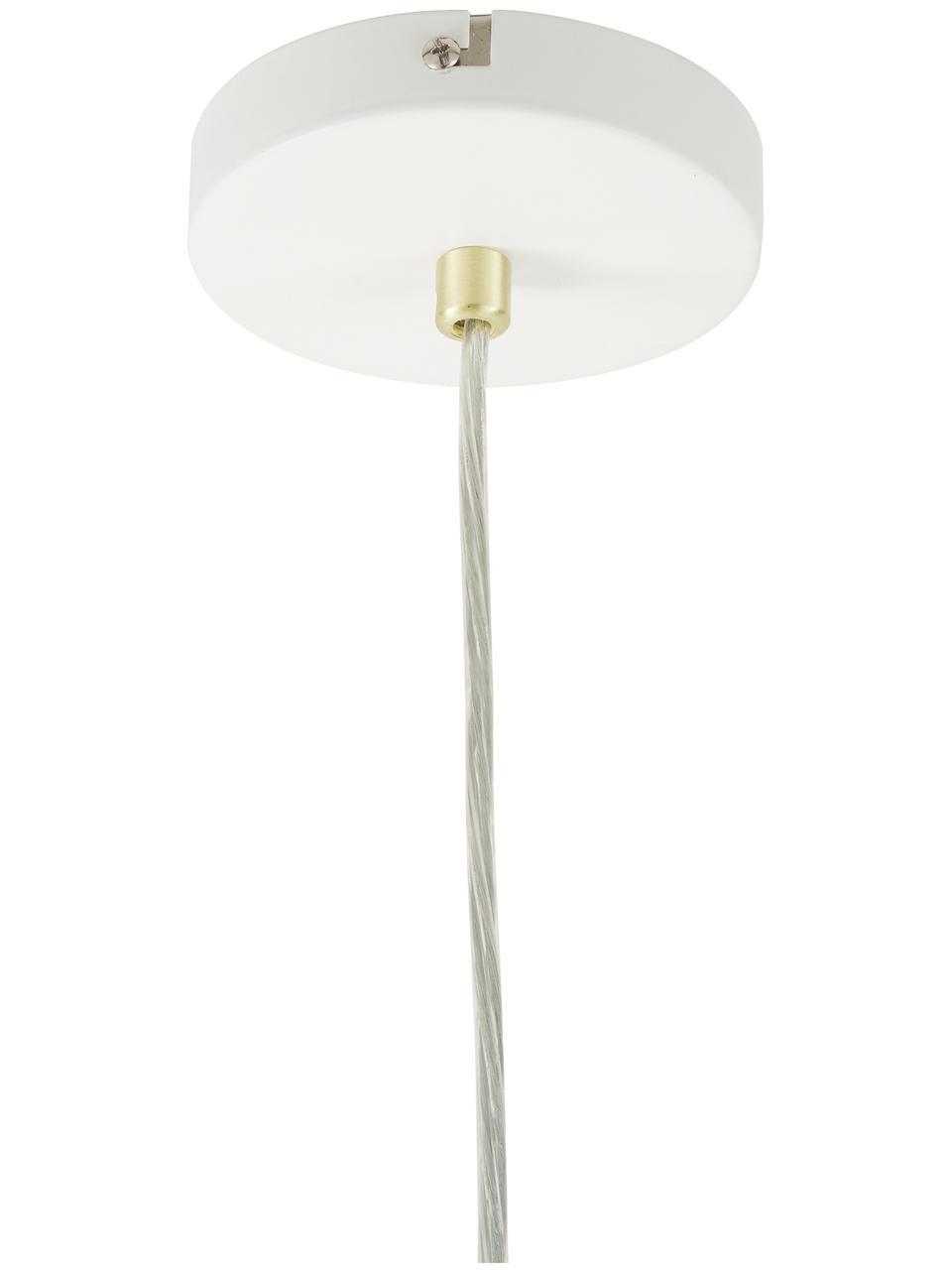 Lampada a sospensione stile nordico Mathea, Baldacchino: metallo verniciato a polv, Paralume: metallo verniciato a polv, Decorazione: metallo ottonato, Bianco, Ø 38 x Alt. 8 cm