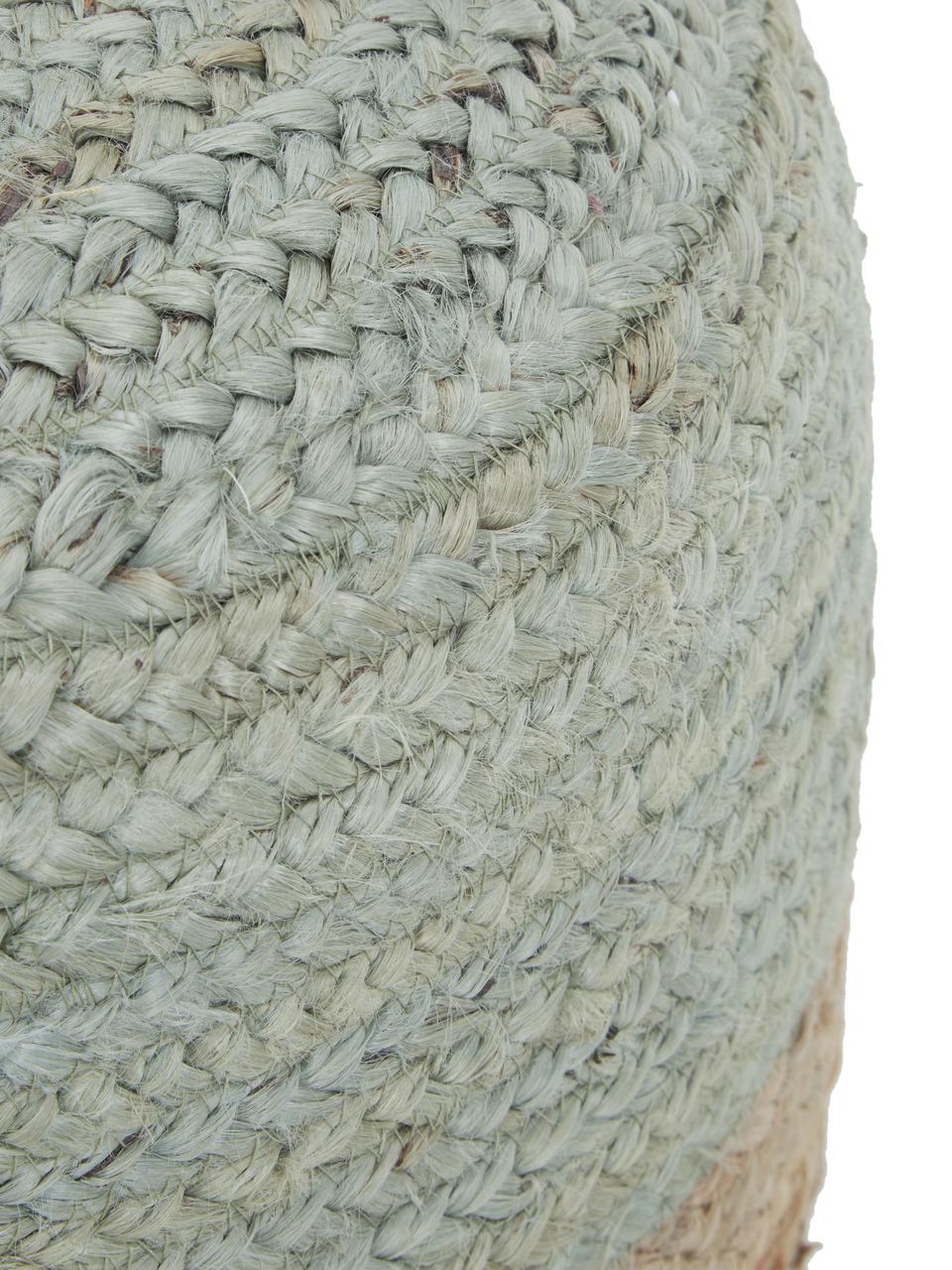 Handgefertigter Pouf Bono aus Jute, Bezug: Jute, Hanf, Mintgrün, Ø 50 x H 36 cm