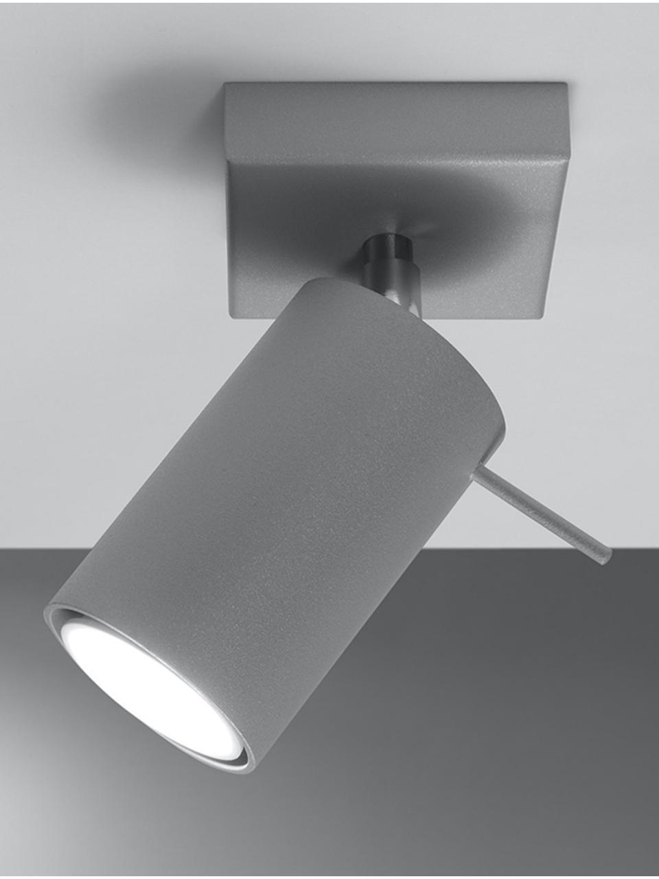 Wand- und Deckenstrahler Etna in Grau, Lampenschirm: Stahl, lackiert, Baldachin: Stahl, lackiert, Grau, 8 x 15 cm