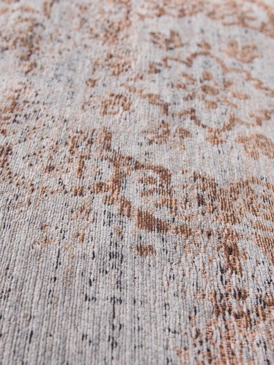Vintage Chenilleteppich Medaillon, Vorderseite: 100% Chenillegarn (Baumwo, Webart: Jacquard, Rückseite: Chenillegarn, latexbeschi, Grau, Braun, B 80 x L 150 cm (Größe XS)