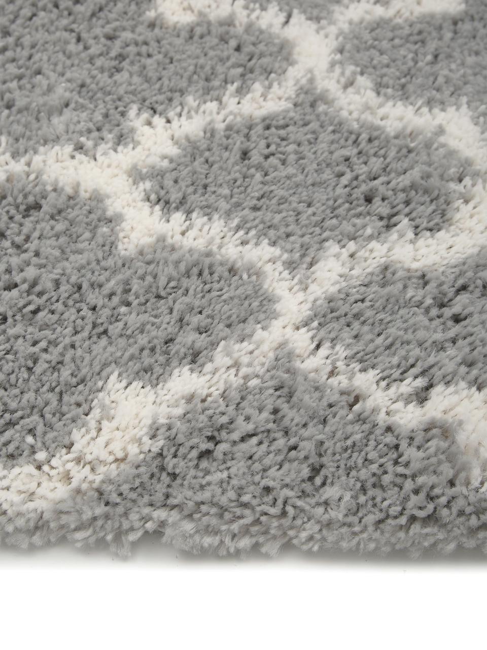 Flauschiger Hochflor-Läufer Mona in Grau/Cremeweiß, Flor: 100% Polypropylen, Grau, Cremeweiß, 80 x 250 cm