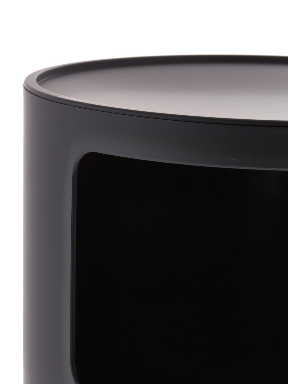 Comodino di design con cassetti Componibile, Materiale sintetico (ABS), verniciato, Nero opaco, Ø 32 x Alt. 59 cm