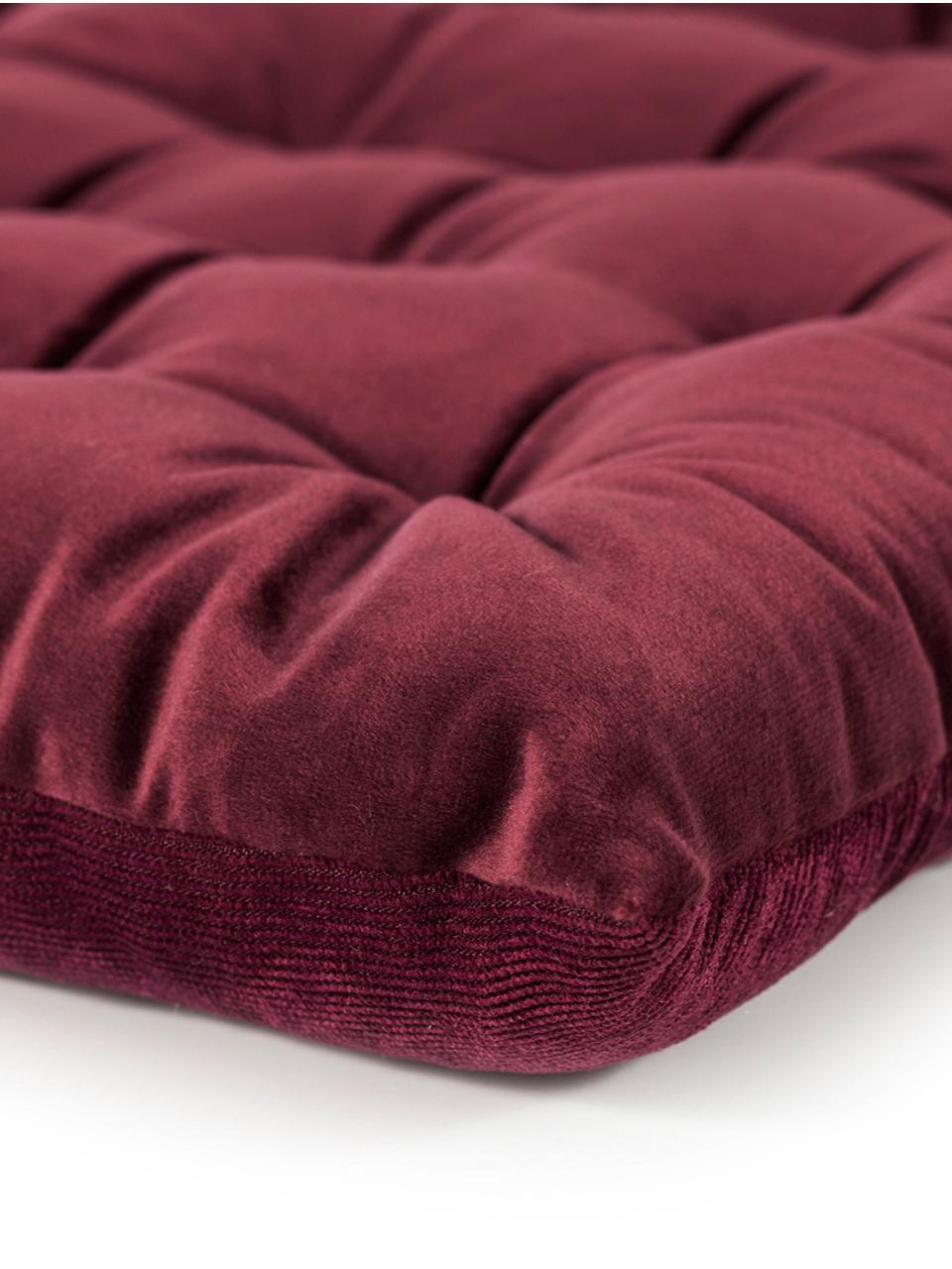 Wendesitzkissen Milana, Samt/Cord, Vorderseite: Polyestersamt, Rückseite: Cord (90% Polyester, 7% N, Weinrot, 40 x 40 cm