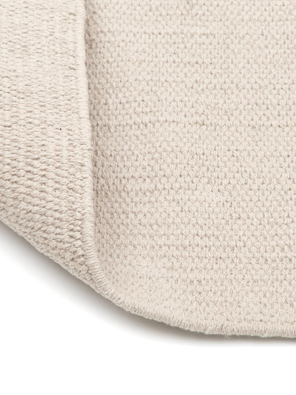Dun handgeweven katoenen vloerkleed Agneta, Katoen, Beige, B 200 x L 300 cm (maat L)