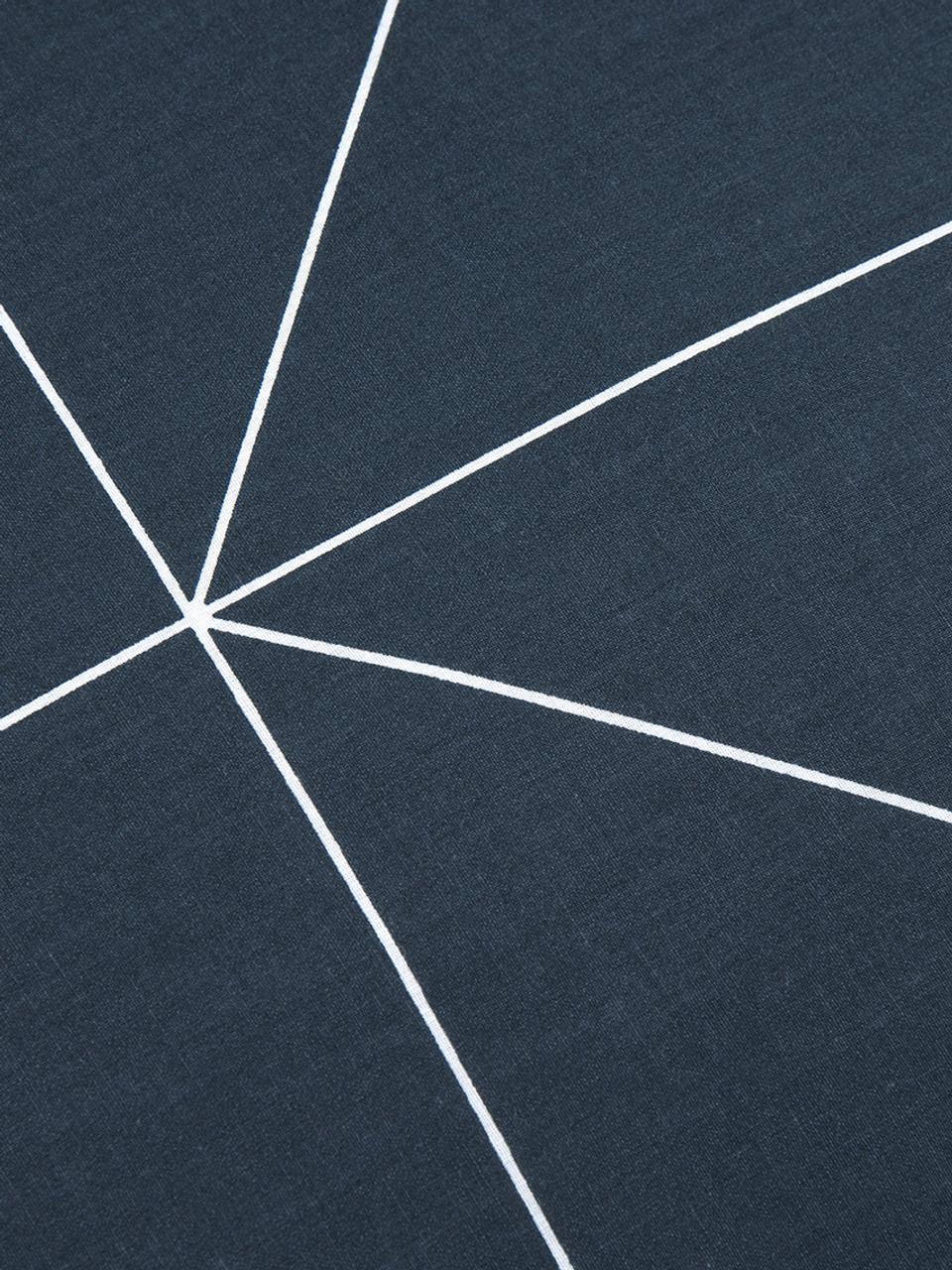 Dwustronna pościel z bawełny renforcé Marla, Granatowy, biały, 135 x 200 cm