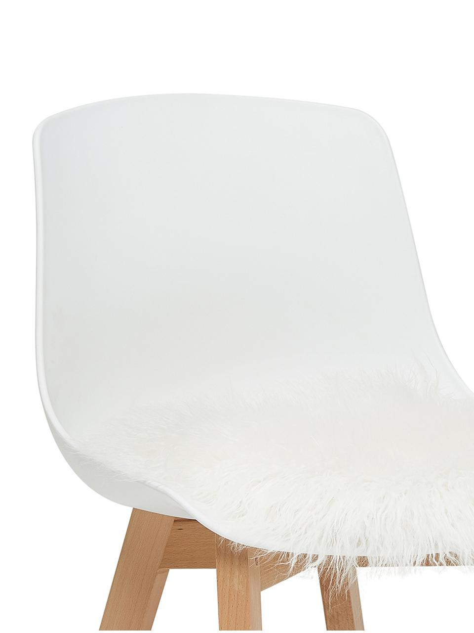 Cuscino sedia in similpelle Morten, riccio, Retro: 100% poliestere, Crema, Ø 37 cm