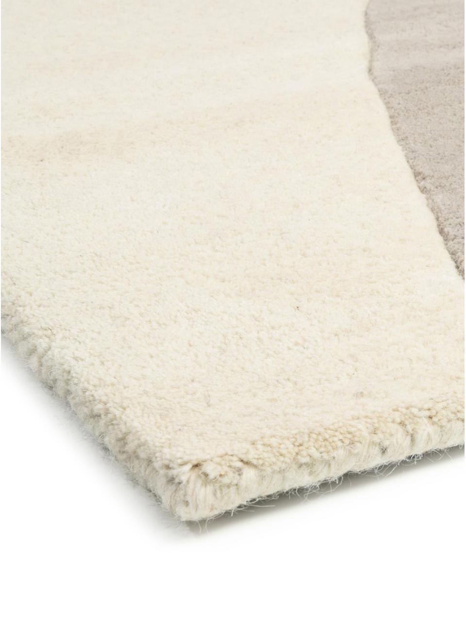 Handgetuft wollen vloerkleed Matrix Arc met geometrisch patroon, Bovenzijde: 100% wol, Onderzijde: katoen, Beigetinten, roze, lichtgrijs, zwart, B 200 x L 300 cm (maat L)