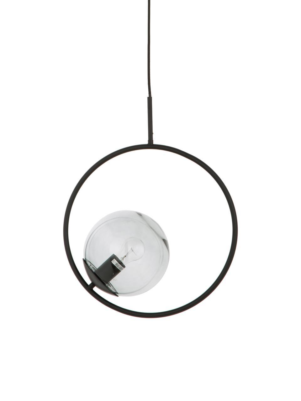Pendelleuchte Chloe aus Glas und Metall, Lampenschirm: Glas, Grau, Schwarz, 40 x 51 cm