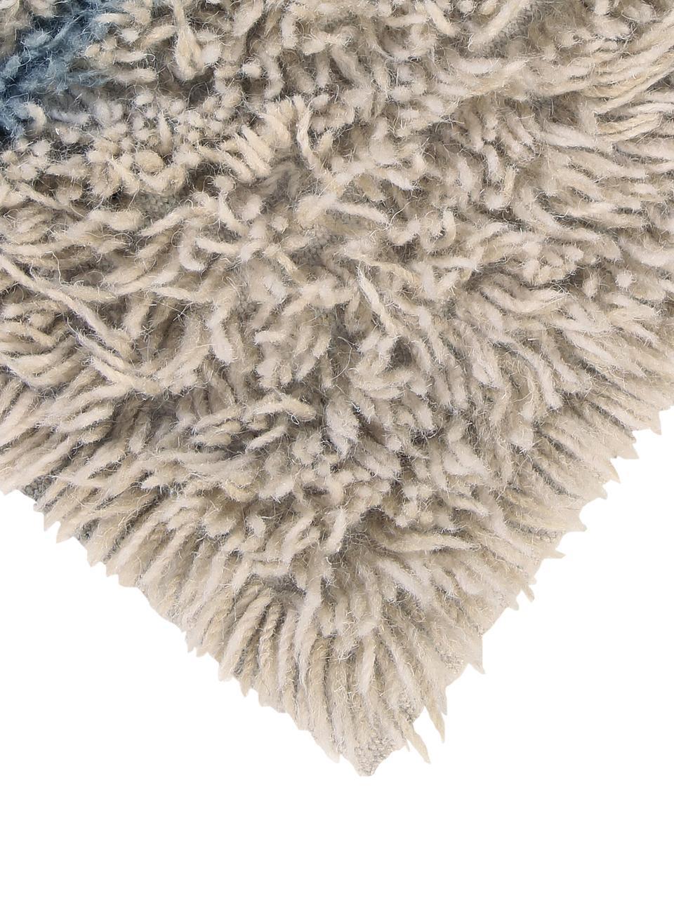 Tappeto in lana lavabile con motivo geometrico Woolable Sunray, Retro: cotone riciclato, Beige, sabbia, marrone, blu scuro, Larg. 170 x Lung. 240 cm (taglia M)