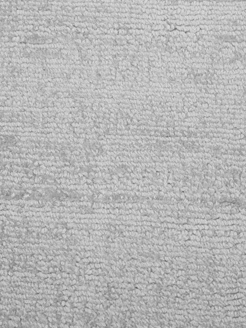 Tappeto rotondo in viscosa grigio argento tessuto a mano Jane, Retro: 100% cotone, Grigio argento, Ø 200 cm (taglia L)