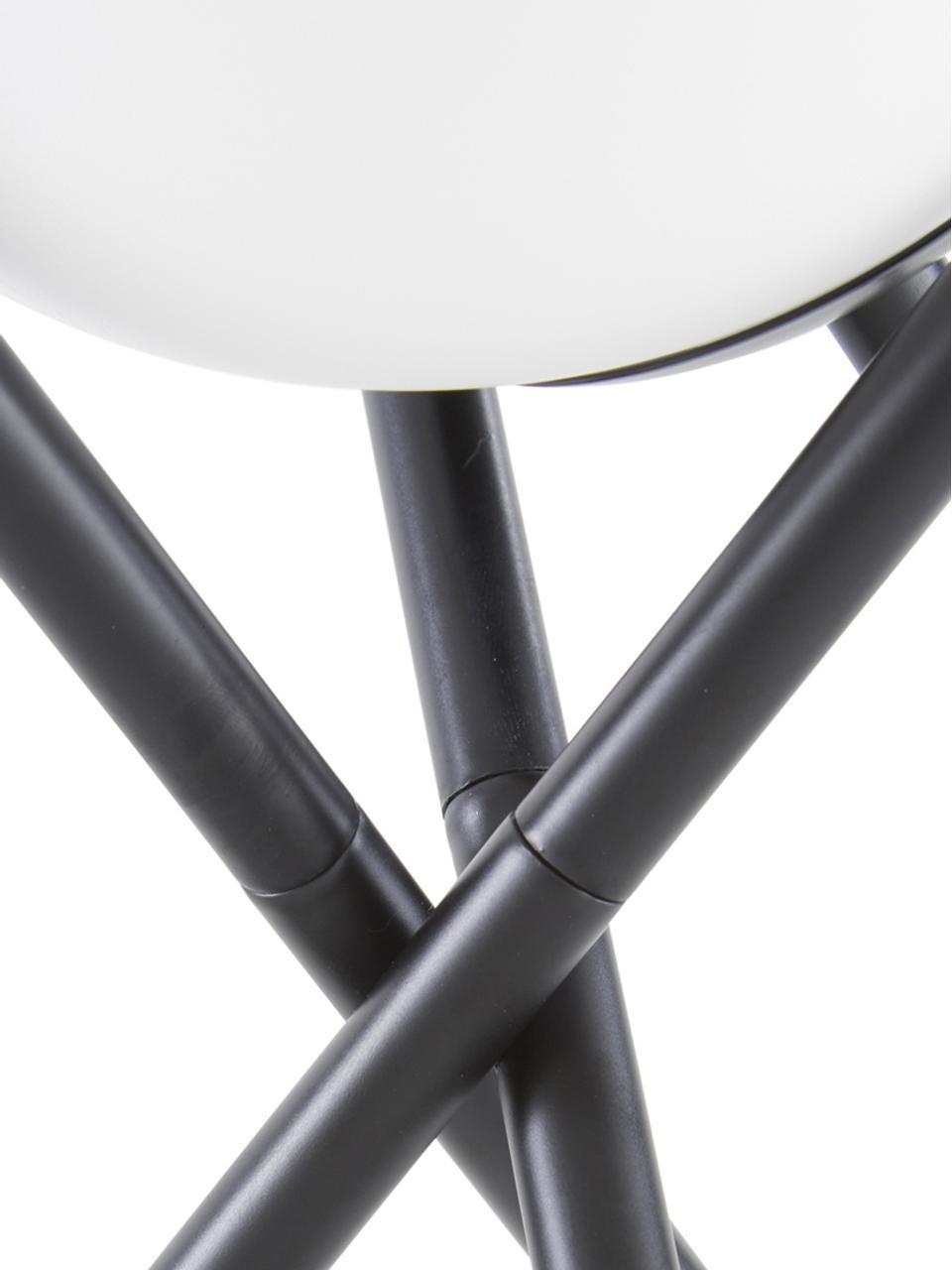 Lampada da tavolo con paralume in vetro Erik, Paralume: vetro, Base della lampada: metallo verniciato a polv, Bianco, nero, Ø 15 x Alt. 33 cm
