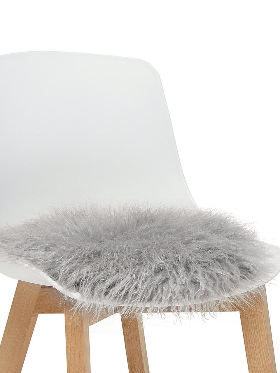 Runde Kunstfell-Sitzauflage Morten, gelockt, Vorderseite: 67% Akryl, 33% Polyester, Rückseite: 100% Polyester, Hellgrau, Ø 37 cm