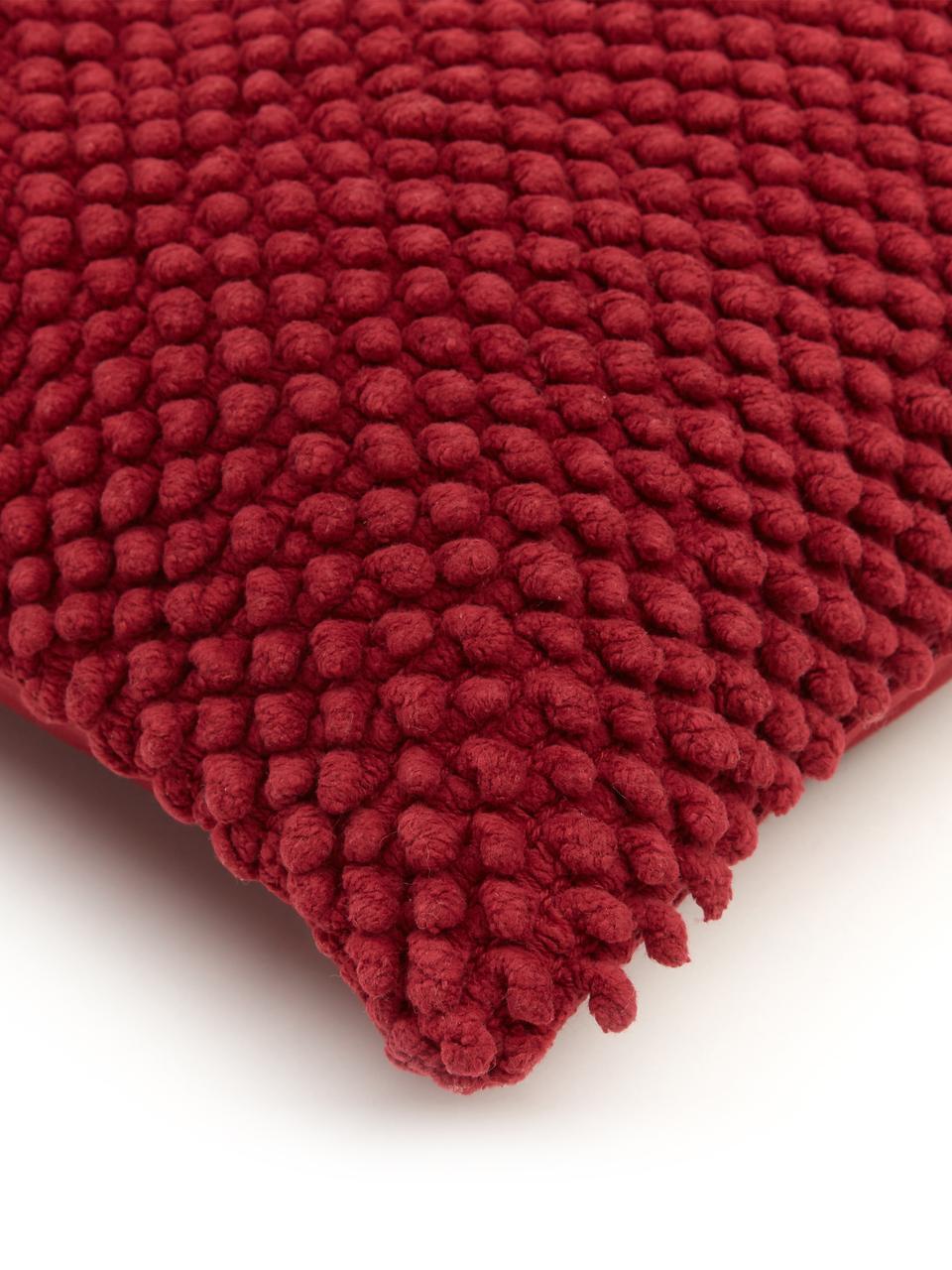 Poszewka na poduszkę z strukturalną powierzchnią Indi, 100% bawełna, Ciemny czerwony, S 45 x D 45 cm