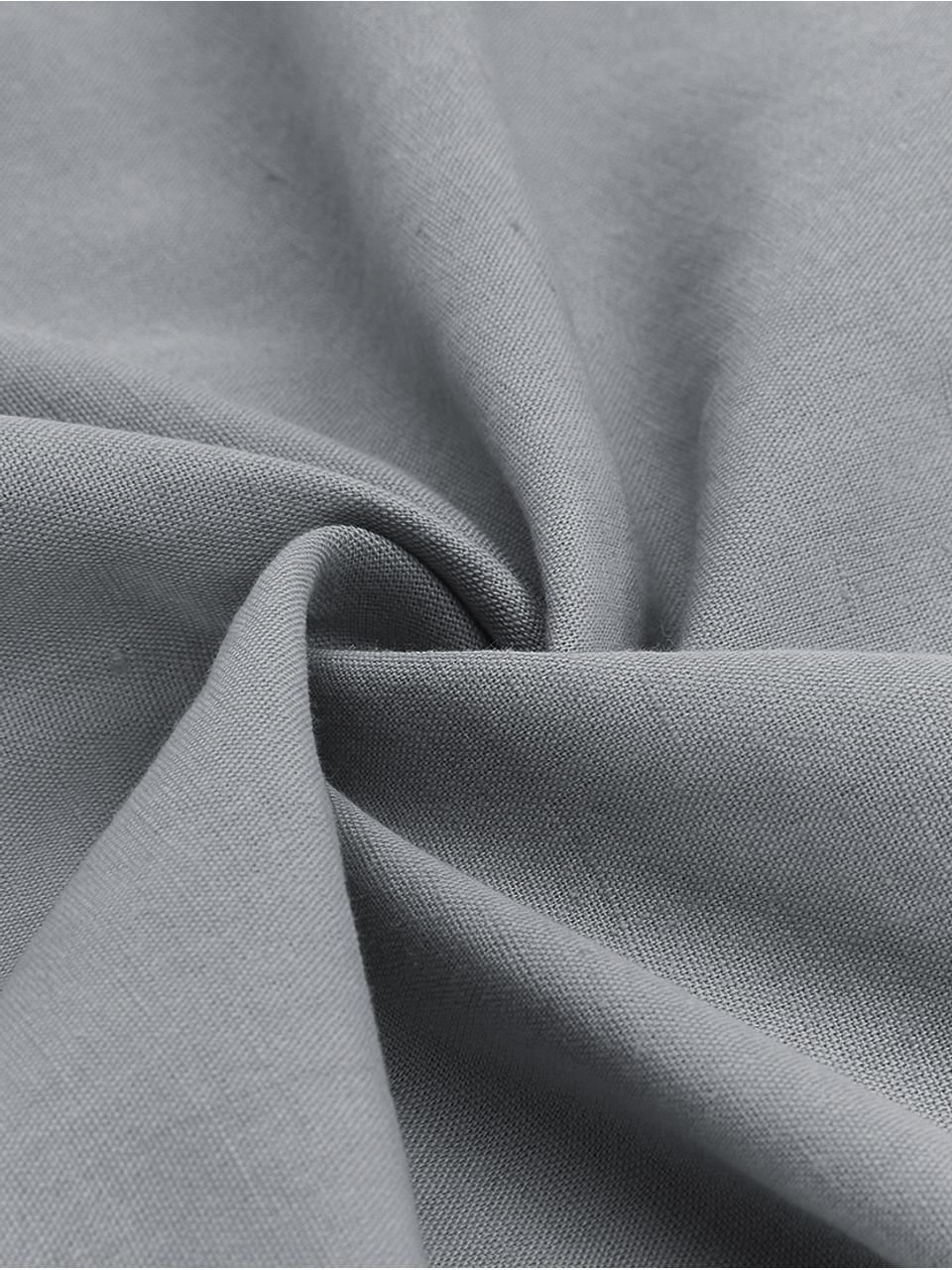 Gewaschene Leinen-Bettwäsche Nature in Dunkelgrau, Halbleinen (52% Leinen, 48% Baumwolle)  Fadendichte 108 TC, Standard Qualität  Halbleinen hat von Natur aus einen kernigen Griff und einen natürlichen Knitterlook, der durch den Stonewash-Effekt verstärkt wird. Es absorbiert bis zu 35% Luftfeuchtigkeit, trocknet sehr schnell und wirkt in Sommernächten angenehm kühlend. Die hohe Reißfestigkeit macht Halbleinen scheuerfest und strapazierfähig., Dunkelgrau, 155 x 220 cm + 1 Kissen 80 x 80 cm