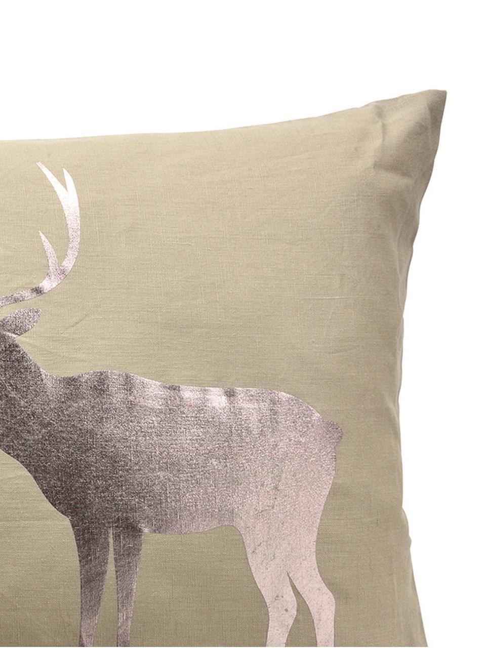 Federa Forrest con motivo cervo lucido, 55% lino, 45% cotone, Beige, bronzo, Larg. 35 x Lung. 60 cm