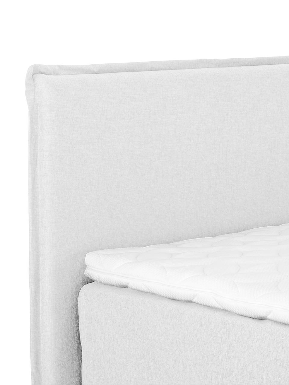 Premium boxspring bed Violet, Matras: 7-zones-pocketveringkern , Poten: gelakt massief beukenhout, Licht witgrijs, 180 x 200 cm