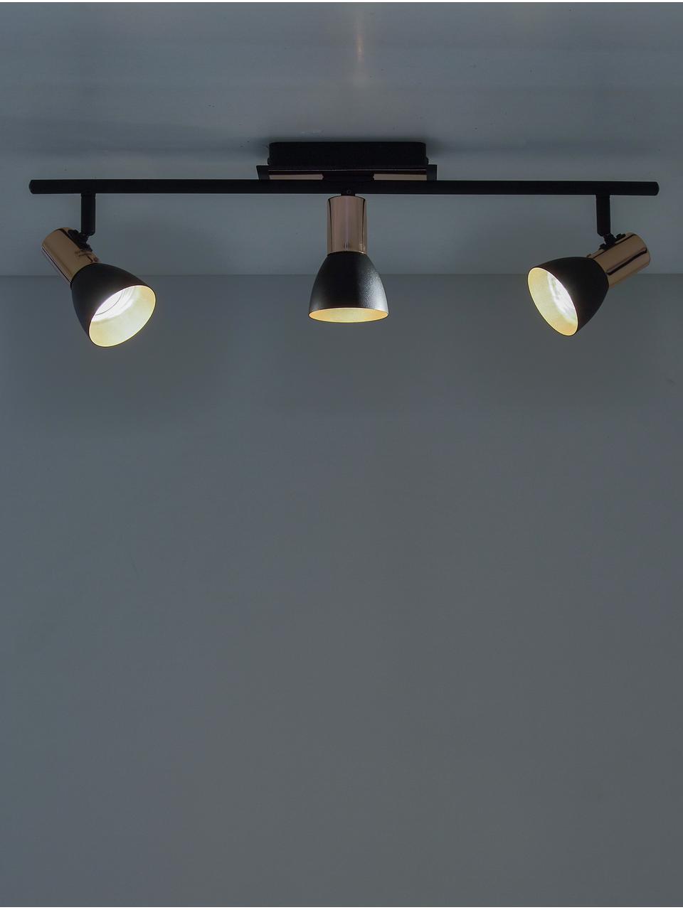 Deckenstrahler Solaris in Schwarz-Kupfer, Befestigung: Schwarz, Kupfer<br>Lampenschirme außen: Schwarz, B 60 cm