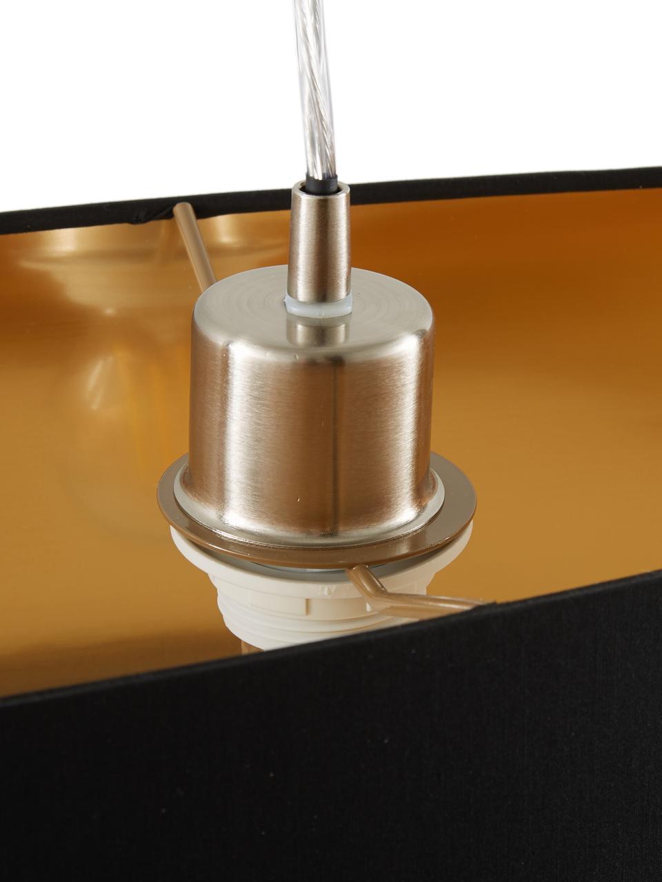 Lampada a sospensione ovale Jamie, Baldacchino: metallo nichelato, Argentato, nero, Larg. 78 x Alt. 22 cm