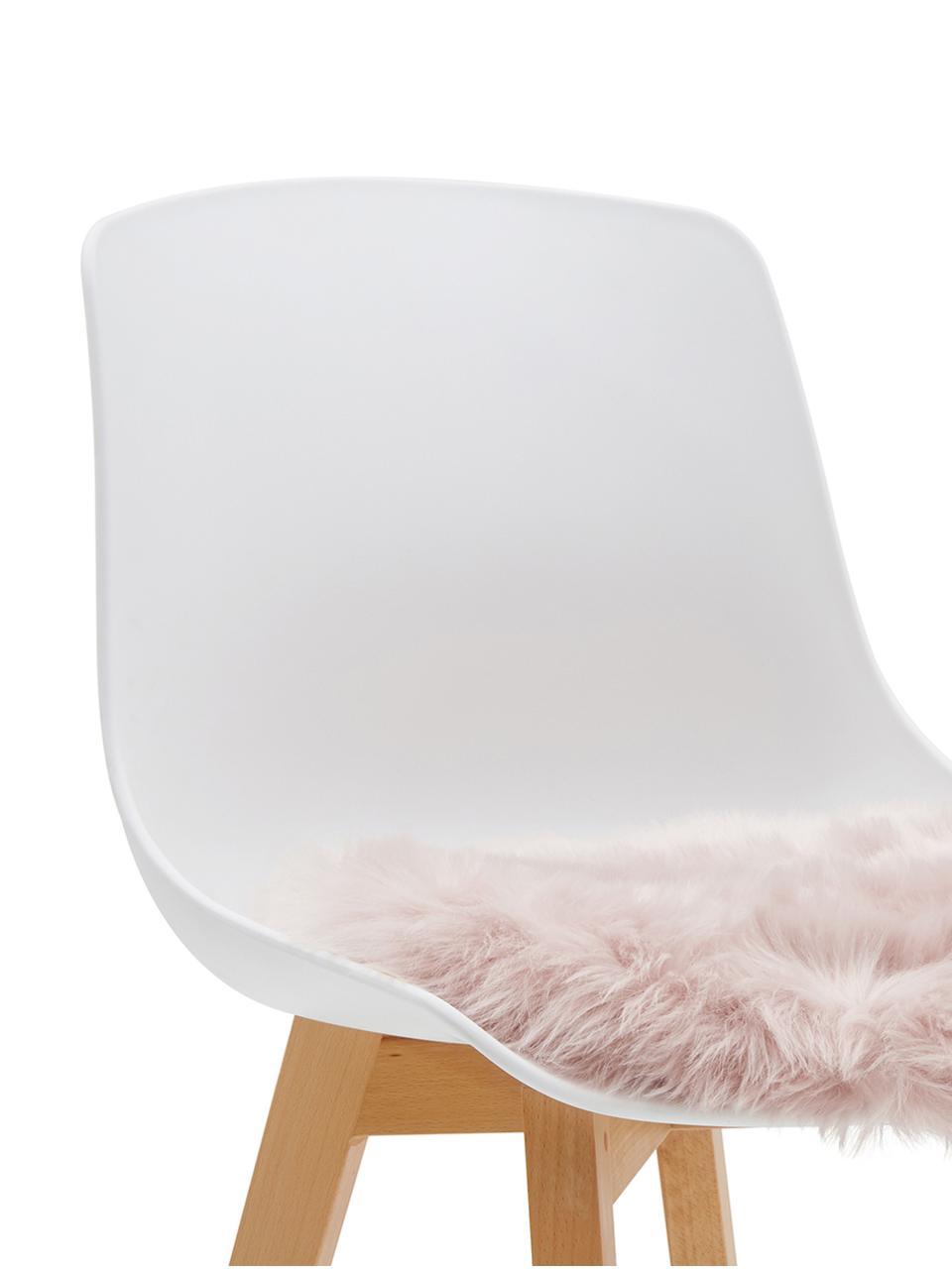 Runde Kunstfell-Sitzauflage Mathilde, glatt, Vorderseite: 65% Akryl, 35% Polyester, Rückseite: 100% Polyester, Rosa, Ø 37 cm
