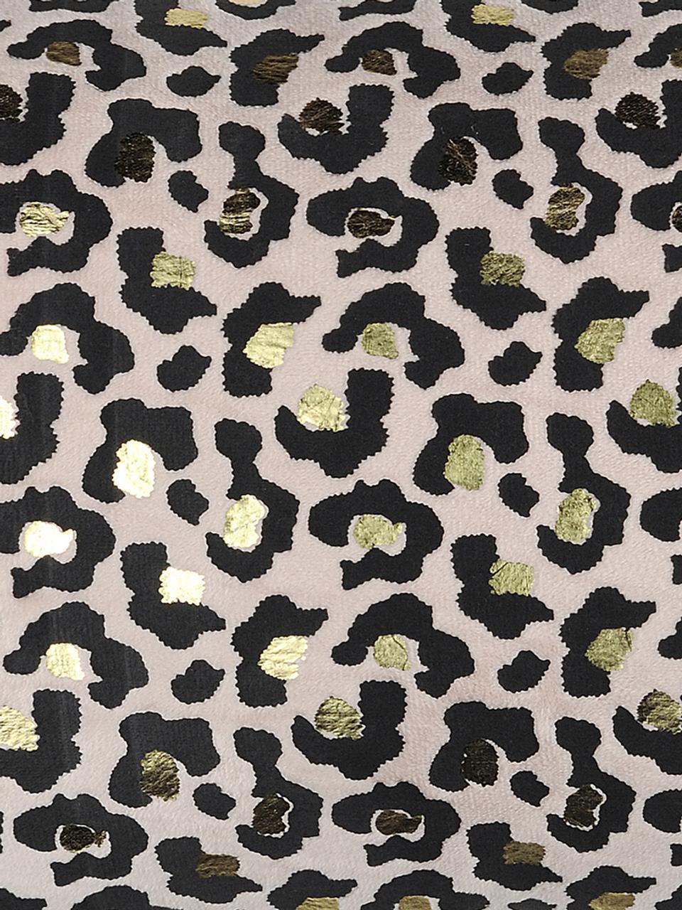 Cuscino con motivo leopardato e imbottitura Jangal, 100% poliestere, Nero, beige, dorato, Larg. 30 x Lung. 50 cm