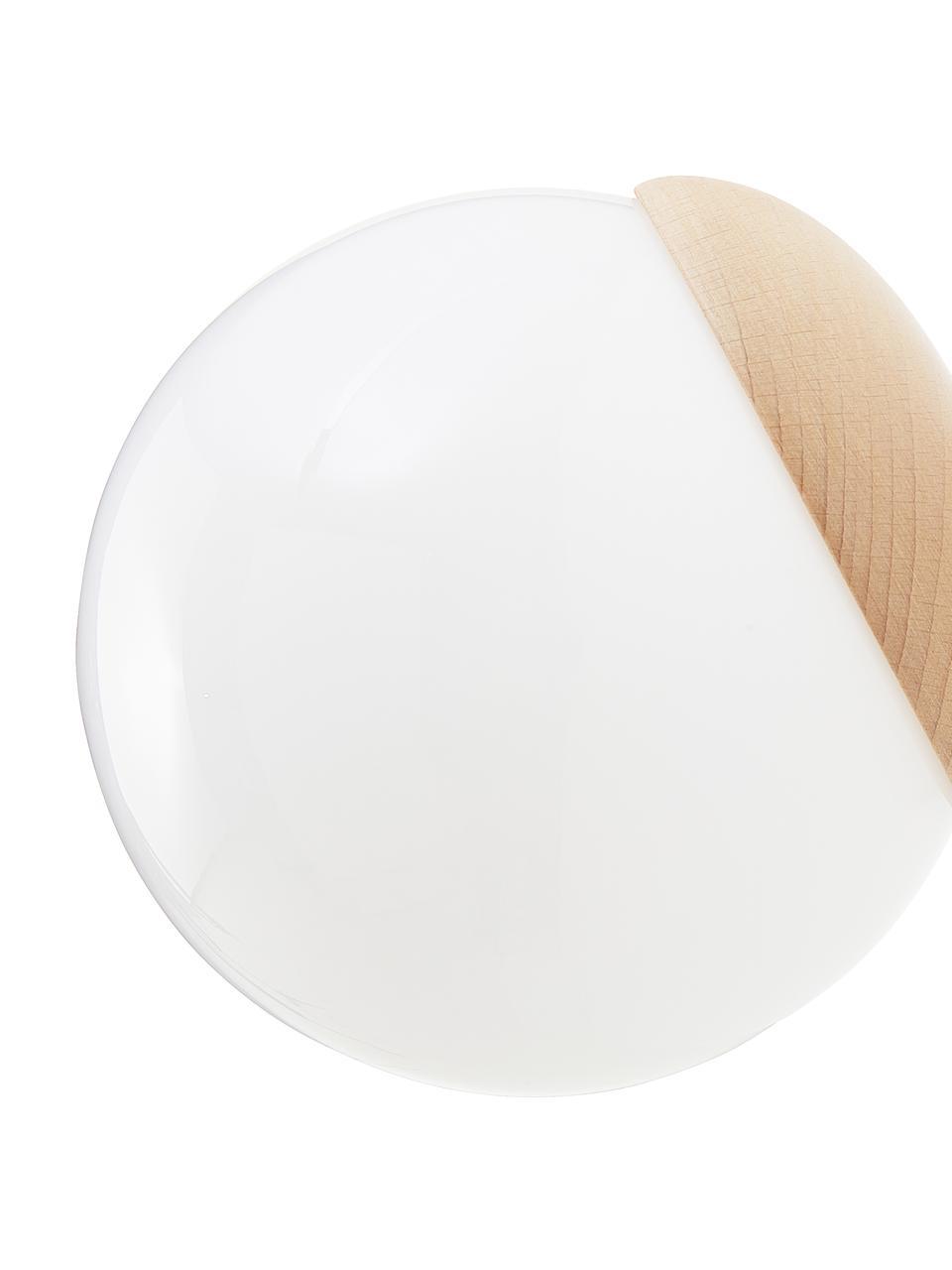 Applique in vetro opale Sfera, Paralume: vetro opale, Decorazione: legno, Bianco opalino, marrone, Larg. 15 x Alt. 15 cm