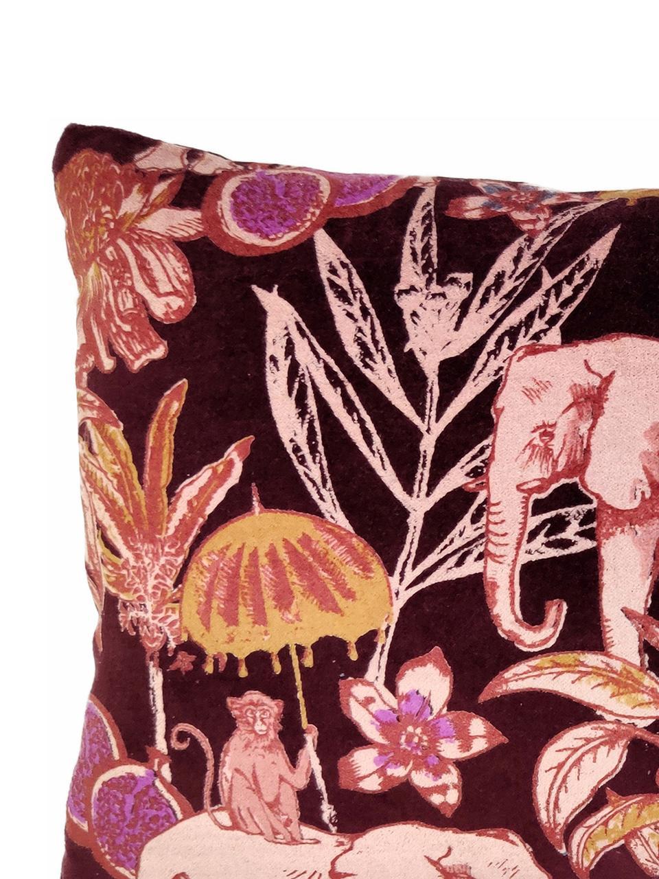 Cuscino in velluto con imbottitura Elephant, Rivestimento: 100% cotone, velluto, Rosso bordeaux, multicolore, Larg. 30 x Lung. 50 cm