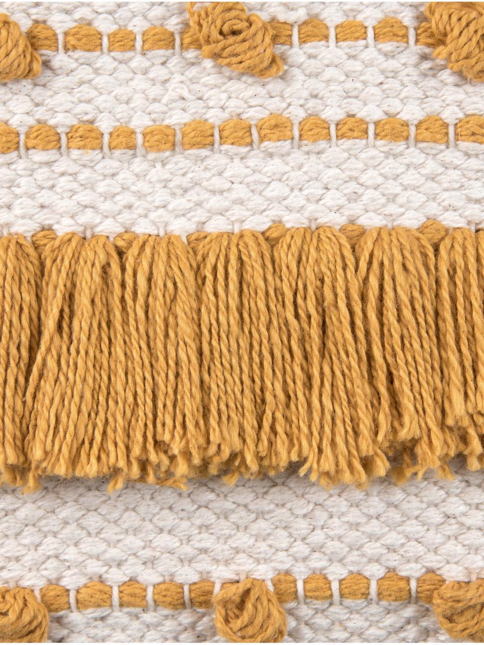 Boho kussenhoes Kaheka in ecru met franjes, 100% katoen, Geel, ecru, 45 x 45 cm