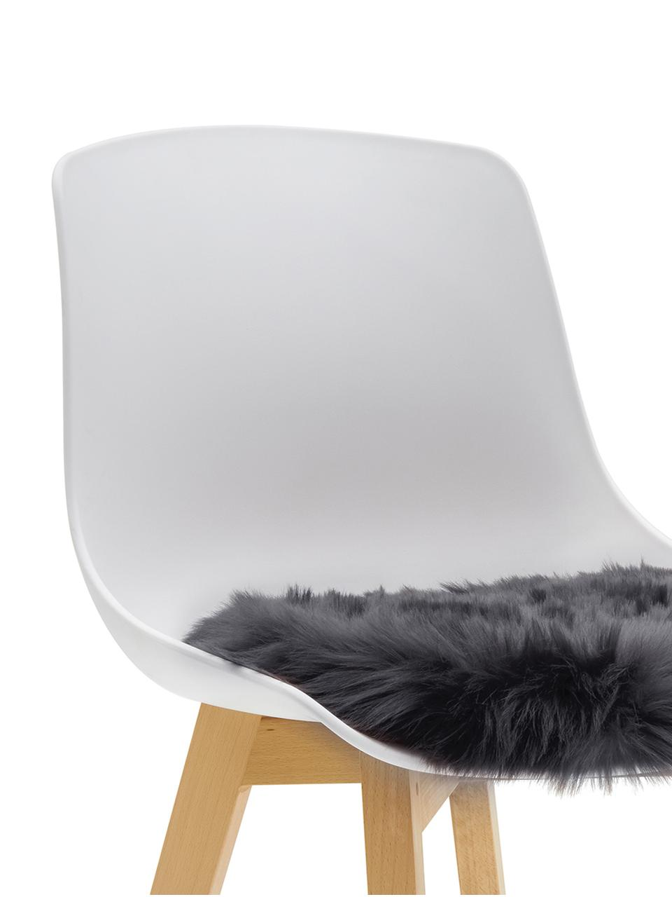 Rond zitkussen van imitatievacht Mathilde, glad, Donkergrijs, Ø 37 cm