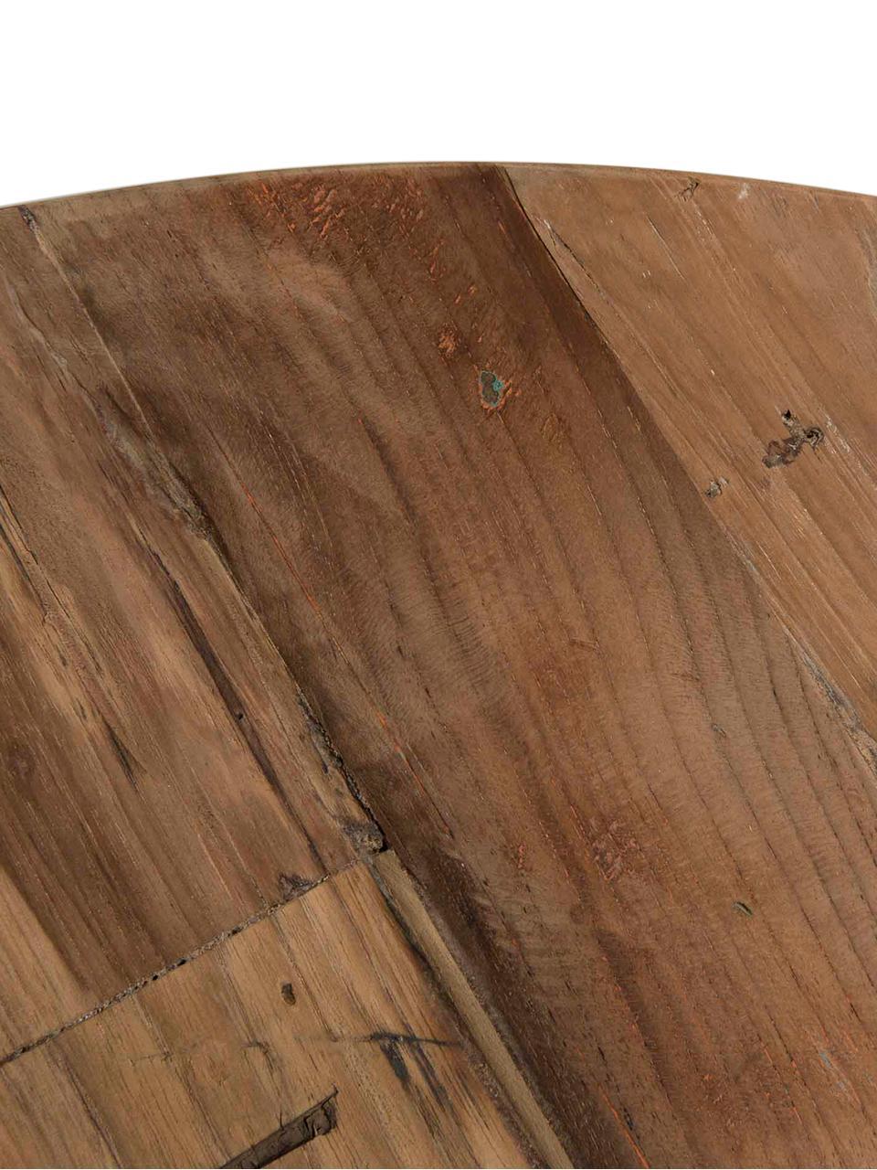Runder Couchtisch Sixtine mit Teakholzplatte, Tischplatte: Teakholz, recycelt, Gestell: Metall, lackiert, Teakholz, Schwarz, Ø 60 x H 35 cm