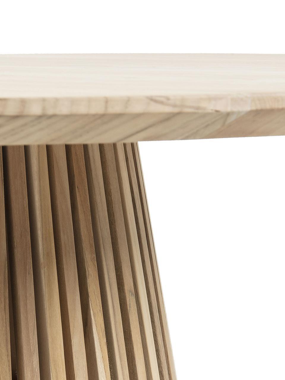 Runder Massivholz Esstisch Jeanette im Skandi Design, Teakholz, naturbelassen, Teakholz, Ø 120 x H 78 cm