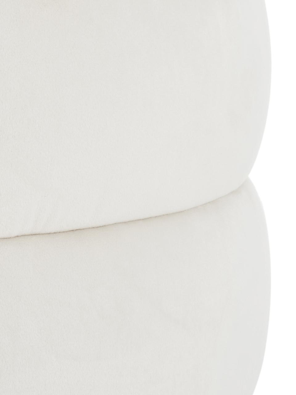 Puf z aksamitu Alto, Tapicerka: aksamit (poliester) Dzięk, Stelaż: lite drewno sosnowe, skle, Kremowobiały, Ø 42 x W 47 cm