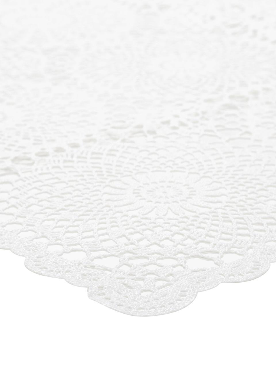 Nappe en plastique aspect crocheté Lace, Blanc