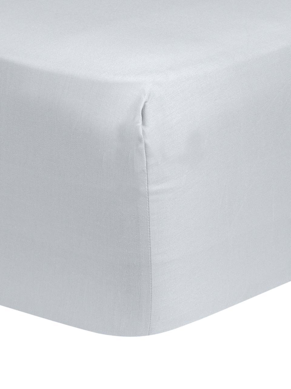 Spannbettlaken Comfort, Baumwollsatin, Webart: Satin, leicht glänzend, Hellgrau, 160 x 200 cm