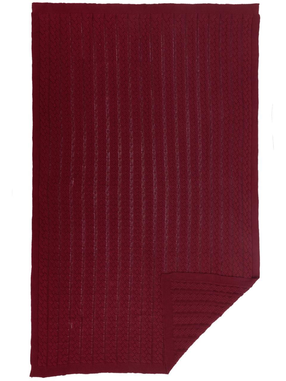 Strick-Plaid Caleb mit Zopfmuster, 100% Baumwolle, Dunkelrot, 130 x 170 cm