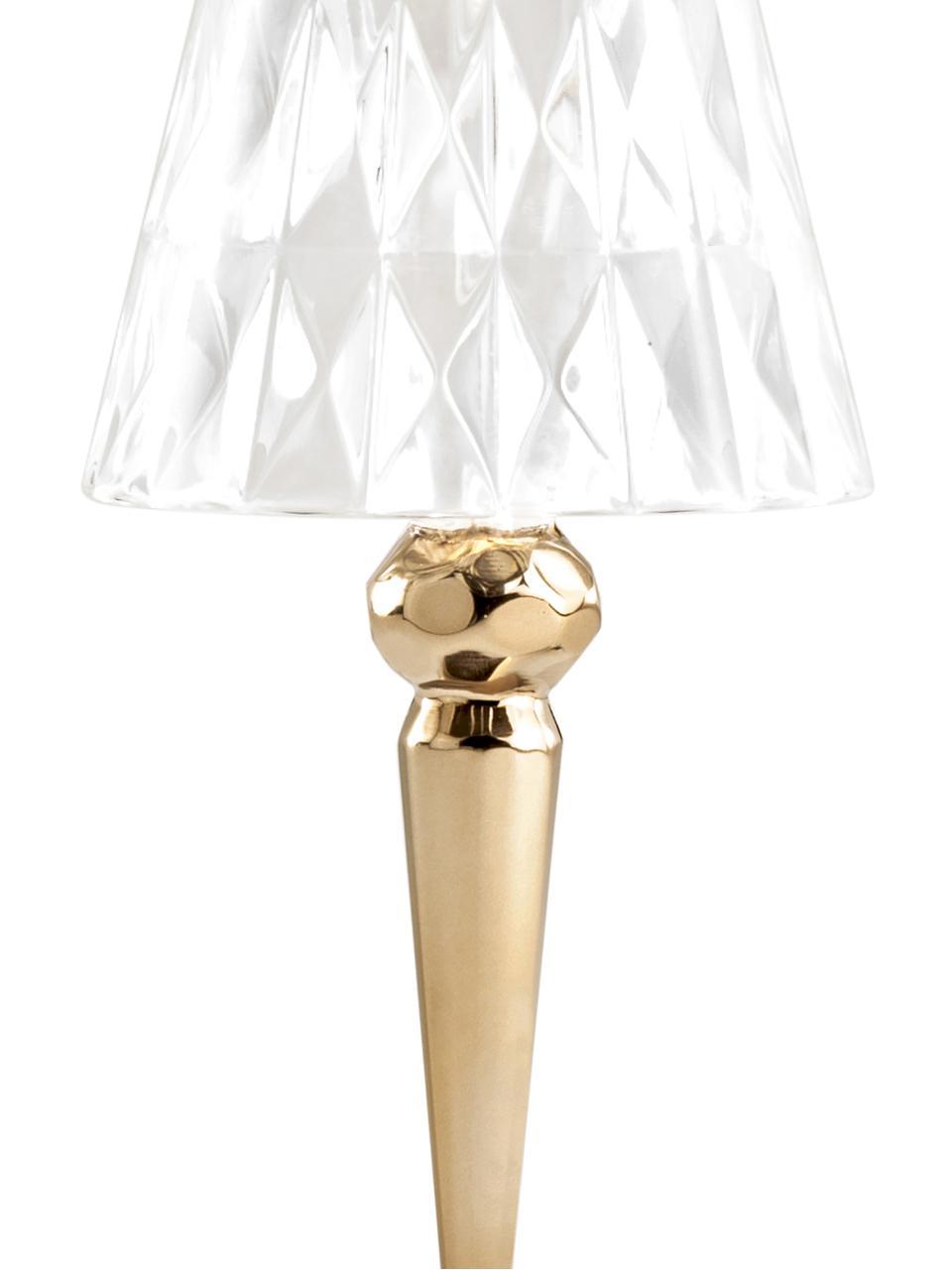 Malá designová stolní LED lampa Battery, Zlatá, transparentní