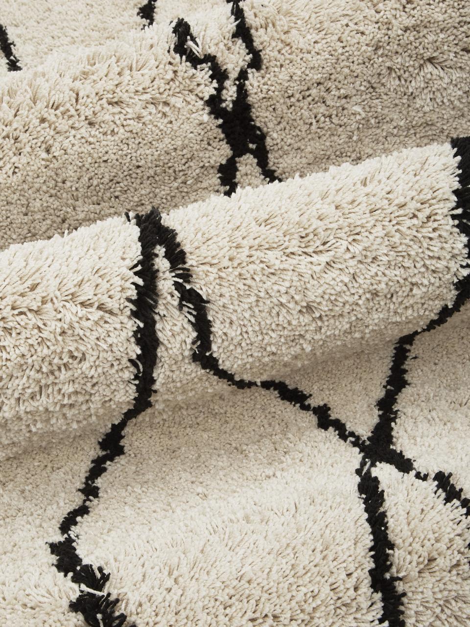 Pluizig hoogpolig vloerkleed Naima, handgetuft, Bovenzijde: 100% polyester, Onderzijde: 100% katoen, Beige, zwart, B 300 x L 400 cm (Maat XL)