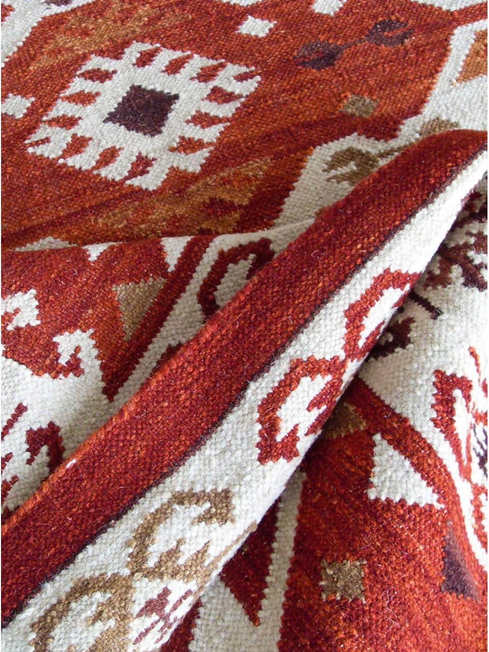 Handgewebter Kelimläufer Ria aus Wolle, 100% Wolle, Rot, Cremefarben, Braun, 80 x 250 cm