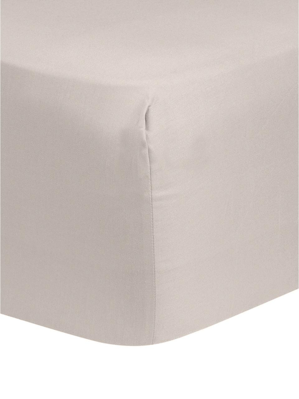 Lenzuolo con angoli in raso di cotone color taupe Comfort, Taupe, Larg. 200 x Lung. 200 cm