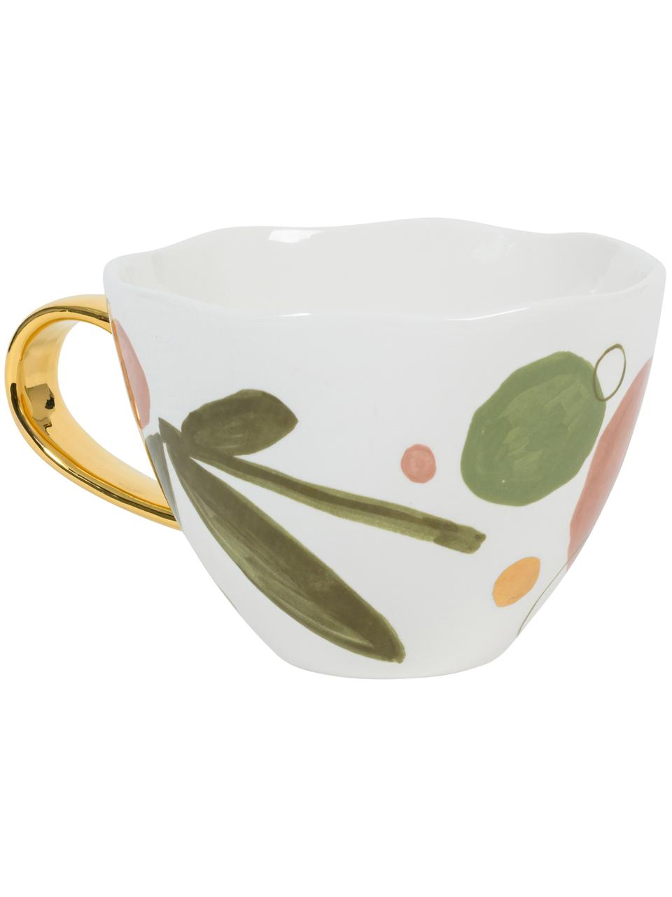 Bemalte Tasse Good Morning Expressive mit goldenem Griff, New Bone China, Weiß, Rosa, Grün, Goldfarben, Ø 11 x H 9 cm