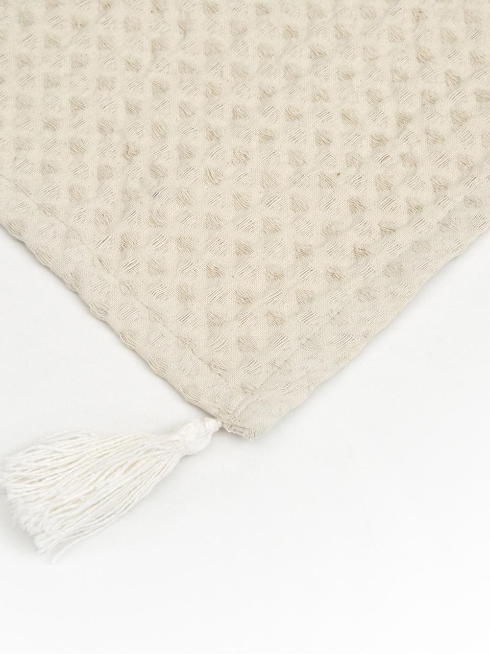 Waffelpiqué-Plaid Gopher in Offwhite mit Quasten, 100% Baumwolle, Gebrochenes Weiß, 125 x 150 cm
